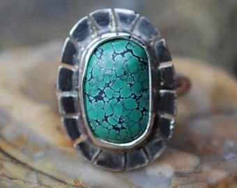 Spiderweb Turquoise Ring - Turquoise Ring - Genuine Turquoise - Sterling Silver Ring - Artisan Jewelry - Southwestern Ring - Size 5.25 Ring