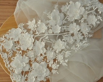 Gorgeous 3D Blossom Lace Applique , Pearl Beaded Lace Appliqque for Wedding Gown, Bridal Dress