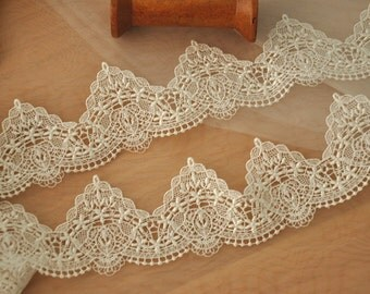 ivory venice lace trim for bridals, wedding, jewelry 3 yards