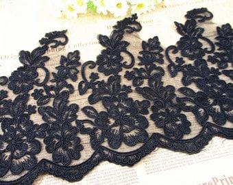 delicaet black alencon lace trim, scallop floral embroidered bridal lace trim