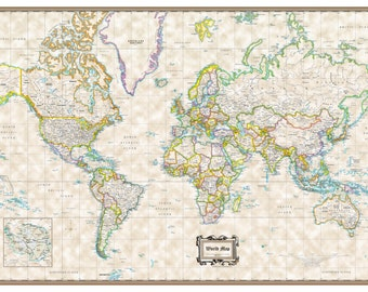 """2016 World Wall Map Classic Executive Poster - 36""""x24"""" Rolled Paper or Laminated"""