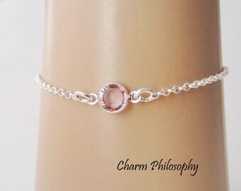 June Birthstone Bracelet - Swarovski Alexandrite Birthstone Anklet - 925 Sterling Silver - Dainty Minimalist Bracelet
