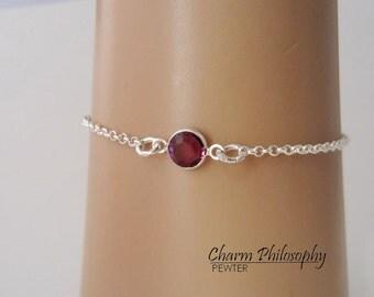 February Birthstone Bracelet - Swarovski Amethyst Birthstone Anklet - 925 Sterling Silver - Dainty Minimalist Bracelet