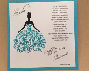 Will you be my bridesmaid card / Maid of Honor / Flower Girl Personalized Cards Invite Bridesmaid Proposal { Dress 2 - Teal }
