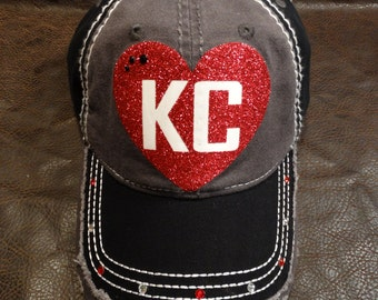 LOVE KC Bling Distressed Hat