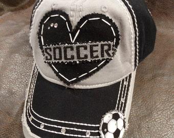 Soccer Sport lover glitter bling baseball hat