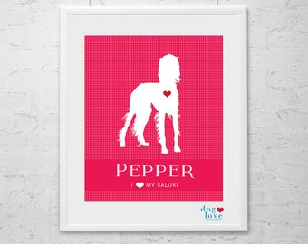 Saluki Dog Silhouette - Personalized 8x10 Dog Art Print