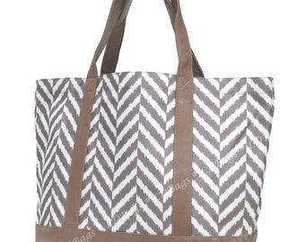 Tote Bag,Large Beach Bag,Pool Bag Large,Bridesmaid Gift, Weekender Bag, Shopping Bag, Overnight Bag,Herringbone Tote, Herringbone Taupe