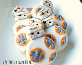 Star Wars BB8 Droid Decorated Sugar Cookies - One Dozen