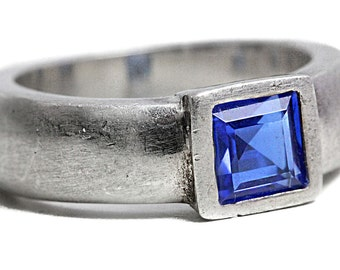 Artisan Blue Cubic Zirconia 925 Silver square cut Ring