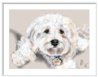 Custom Dog Pet Portrait, custom portrait, dog portrait, dog lover, pet portrait, dog art, dog memorial, artwork, bichon frise, dog, pet