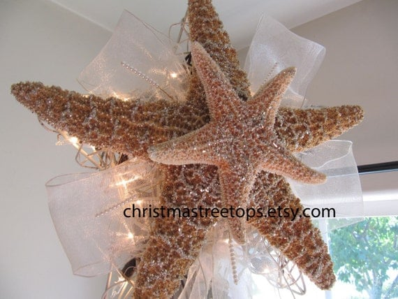Starfish Tree Topper Lighted Christmas Tree By