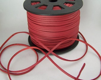 Red Faux Leather Cord 20 Feet USA Seller