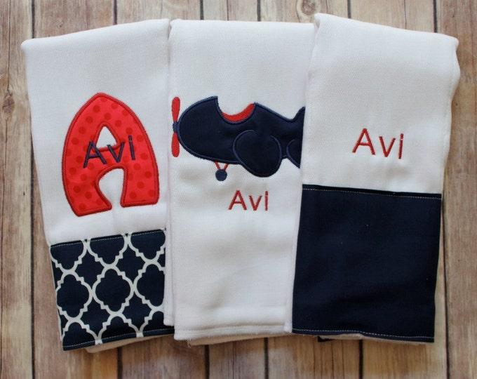 Baby Boy Monogram Airplane Burp Cloth Set - Navy Red Embroidered Burp Cloth Set for Baby Boy, Personalized Airplane Baby Gift, Baby Shower