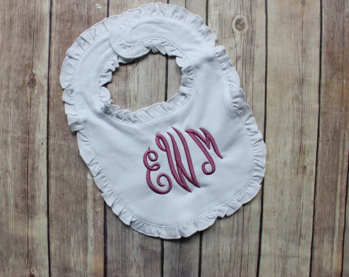 Monogrammed Ruffle Bib for Baby Girl - Personalized Monogram Girl Bib, Ruffle Bib with Monogram, Monogrammed Baby Bib for Girl, Monogram Bib