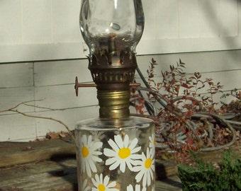Vintage Retro 1970's Mini Oil Lamp Daisy Motif Lamplight Farms