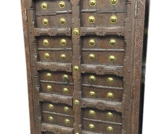 Antique Old Door Brass Armoire Hand Carved Cabinet Storage Indian Furniture