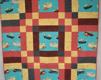 Quilted wall hanging or lap quilt. Bathtub beauties. Machine pieced and quilted