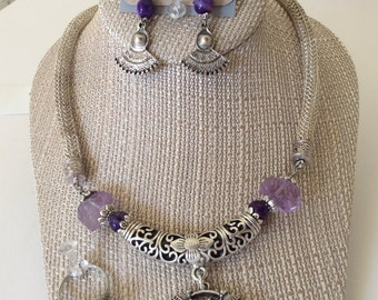 A set of Amethyst & silver, Necklace, Bracelet and Earrings