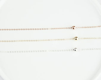 Layering necklace, Ball Necklace, Tiny Ball Necklace. Hammered Ball Necklace, Tiny Pea Necklace