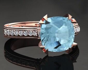 Aquamarine Engagement Ring Cushion Cut Aquamarine Ring 14k or 18k Rose Gold Matching Wedding Band Available W26AQUAR