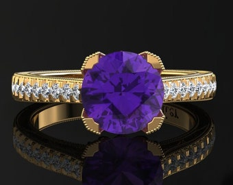 Amethyst Engagement Ring Amethyst Ring 14k or 18k Yellow Gold Matching Wedding Band Available SW5PUY
