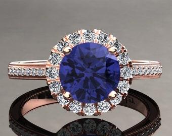 Tanzanite Halo Engagement Ring Tanzanite Ring 14k or 18k Rose Gold Matching Wedding Band Available W20TANZR