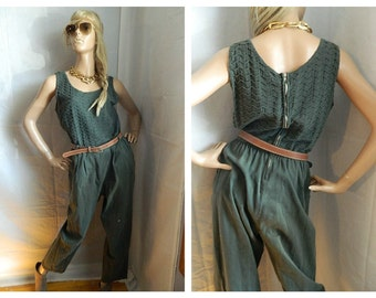 Vintage Green Boho Jumpsuit Belted waist textured top size  Medium