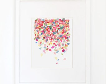 Colorful Dots Falling - Watercolor Art Print