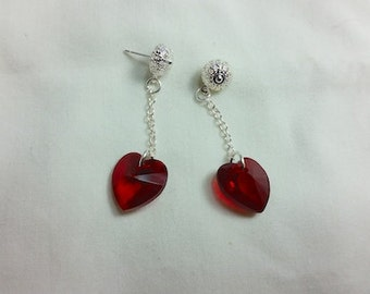 Valentine Earrings, Swarovski Crystal Heart Dangle