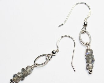Labradorite Earrings on Sterling Silver Earwires  - Birthday Gift - Bridesmaid's Gift