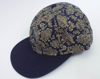 Vintage 90s Green and Gold Paisley Print Hat