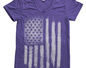 SUMMER SALE US Flag Women Tri-blend American Apparel Track Shirt Hand Screen Printed