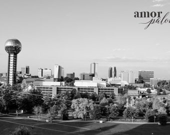 Knoxville's Skyline in Black and White - Downtown Knoxville Photo