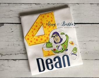 Monogrammed Buzz Lightyear, Appliqué Shirt, personalized, birthday, boy, girl, Toy Story, Woody, tee, aliens, jessie