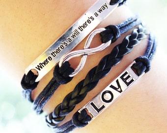 Black Charm Bracelet Leather Friendship Bracelet Infinity Love Bracelet Gift for her