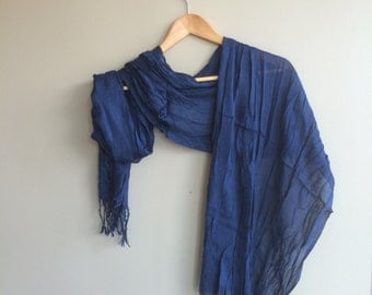 NAVY BLUE,  Scarf, Shawl, Cotton /  S - 05