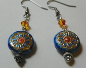 Japanese Cloisonne Metal Bead Earrings with Crystals