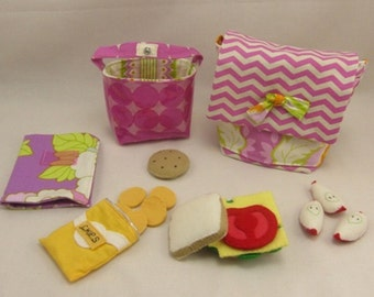 Back Pack with Lunch Set-made for Sugar and Snap dolls, The Sweet Stitch, felt food, notebook, made to be played with