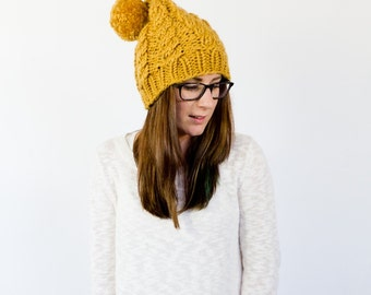knit cabled slouch beanie with a pom || the ALFALFA || shown in mustard