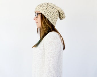 slouchy knit ribbed beanie || the CANADIAN || shown in oatmeal