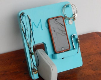 Personalized Phone Docking Station and Jewelry Organizer - Mother's Day, Holiday, Birthday, Anniversary Gift