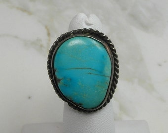 Very Large Native American Sterling Silver Gemstone Ring