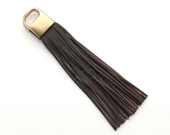 4009061 / Dark Brown / Genuine Leather Tassel / Brown Gold Plated Brass Cap 17mm x 100mm / 9g / 50strands / 1pcs