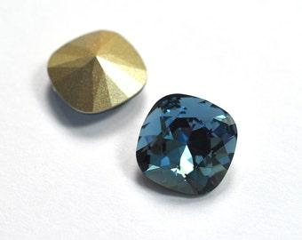 Swarovski 12mm Denim Blue Cushion Cut 4470 Crystal