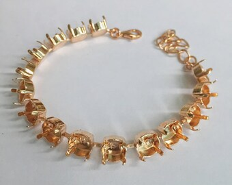 39ss Empty Cup Chain 8mm Rose Gold Plating for Swarovski 1088 1 Bracelet DIY Jewelry