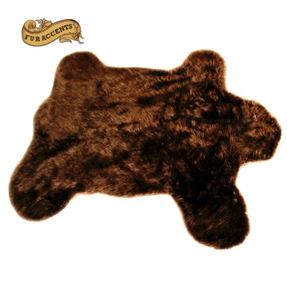 FUR ACCENTS Faux Fur Teddy Bear Throw Rug Plush By FurAccents