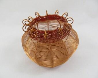 Baskets, Copper, wire, urn,  woven, wire basket, beads, art, contemporary, home decor, fiber art