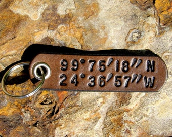 Custom Coordinates Longitude Latitude Keychain leather tag key fob - Secret Places - Favorite Location GPS - Wedding 3rd Anniversary Gift