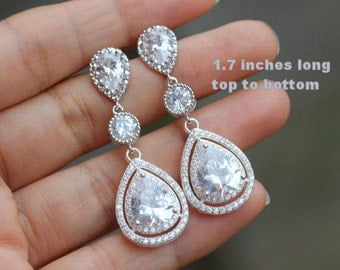 triple drop bridal earring cz wedding jewelry wedding drop earring bridesmaid earring long earring